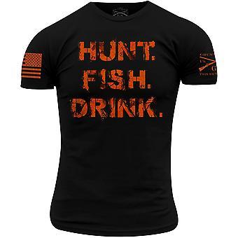 Grunt Stil Realtree AP Blaze - Hunt. Drikke. Fisk. T-skjorte - svart