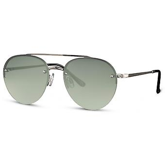 Sunglasses unisex panto cat. 3 silver/green