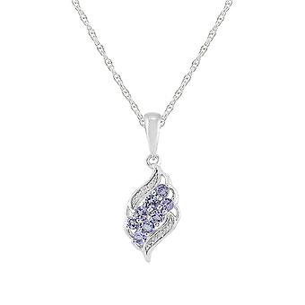 Modern Round Tanzanite & Diamond Pendant Necklace in 925 Sterling Silver 253P217601925