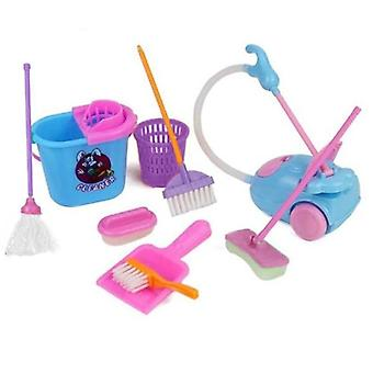 9pcs/set Creative Simulation Cleaning Children Pretend Play Toy House Cleaning Set- Mini Mop Trash Bins Tools Gjjho31a