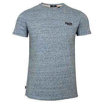 Superdry men's ol vintage emb vuorovesi sininen grit t-paita