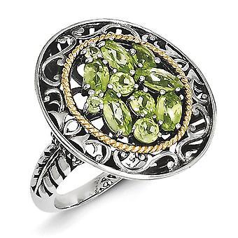 925 Sterling Silver Polerad finish med 14k Peridot Ring Smycken Gåvor för kvinnor - Ring Storlek: 6 till 8