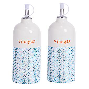 Nicola Spring 2 Piece Hand-Printed Vinegar Bottle with Pourer Set - Porcelain with Stainless Steel Spout - Blue - 500ml