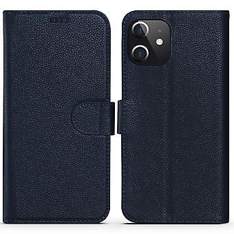 Para iPhone 12 mini caso moda cowhide cuero genuino cartera cubierta azul