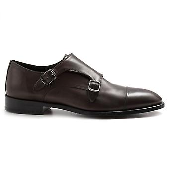 Jerold Wilton Double Buckle Shoes in Brown Leather