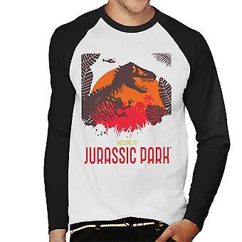 Jurassic Park Tervetuloa Jurassic Park T Rex Silhouette Men's Baseball Pitkähihainen T-paita