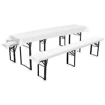 Beer table cover with 2 padded beer bench covers White 240 x 90 cm