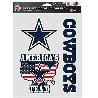 NFL ملصقا متعددة الاستخدامات مجموعة من 3 20x15cm -- دالاس رعاة البقر