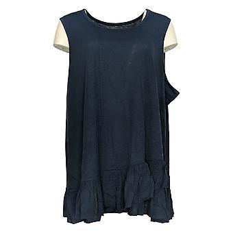 DG2 par Diane Gilman Women-apos;s Plus Top Blue Tunique Cotton Sleeveless 725-087