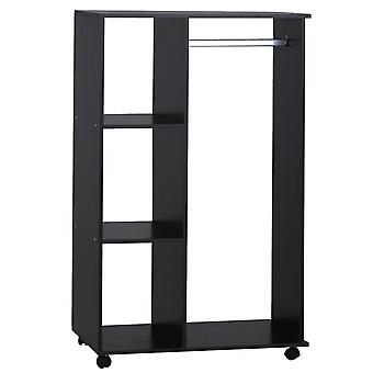 HOMCOM Open Wardrobe on Wheels, w/Rods &Shelves,Clothes, Shoes Organizer Rack