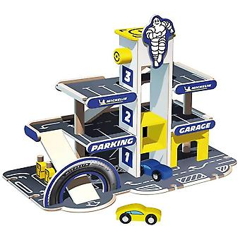 theo klein wooden michelin car park with a car lift and ramp for ages 3+