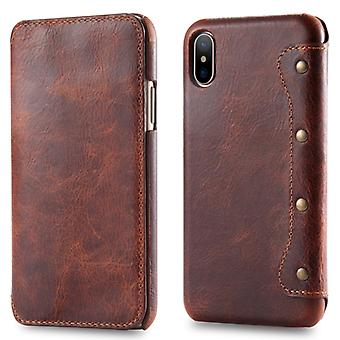 Oil Wax Top-grain Cowhide Horizontal Flip Leather Case for iPhone X / XS, with Card Slots & Wallet (Brown)