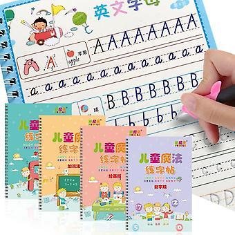 مجموعة كتب نسخ للأطفال مع القلم، Refil وقلن