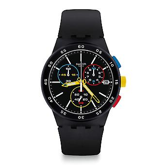Swatch SUSB416 Black-One Chronograph Siliconen Horloge