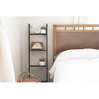4 Step Rustic Black Wood Ladder Shelf