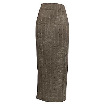 Lisa Rinna Collectie Rok Pull-On Geribbelde Gebreide Maxi Brown A294199