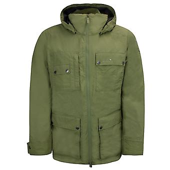 Jack Wolfksin Mens Utility Jacket Hooded Parka Coat Khaki 1306381 4288