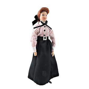 Dolls House Victorian Governess Woman Lady Shop Assistente porcelana 1:12 Pessoas