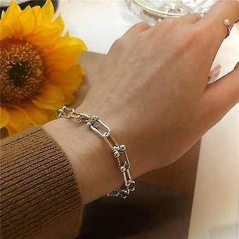 925 Sterling Silver Thick Chain Couple Creative Vintage Bracelet