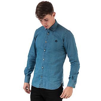 Män's Henri Lloyd Slim Chambray Skjorta i blått