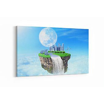 Schilderij - Eiland in hemel met toekomstige stad — 100x70cm