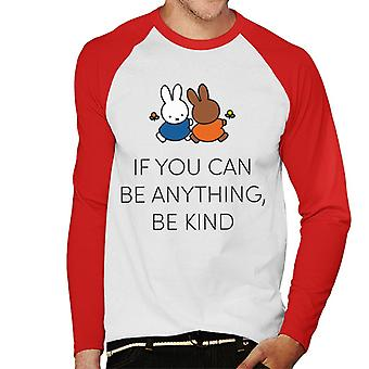 Miffy If You Can Be Anything Be Kind Men's Baseball Long Sleeved T-Shirt