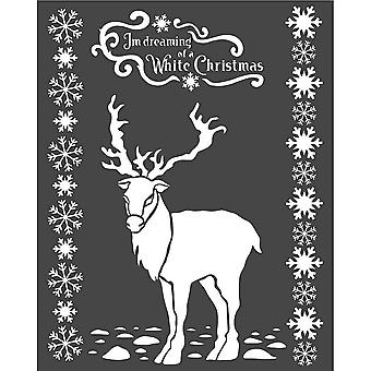 Stamperia Thick Stencil 20x25cm White Christmas Deer