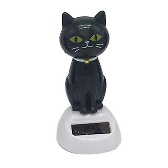 Lovely Auto Car Ornament, Solar Powered Shaking Head & Tail Black Cat, Doll