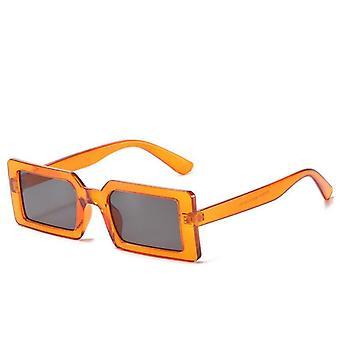 サングラス女性の長方形トレンド2021夏レトロオレンジ