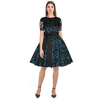 Chic Star Plus Größe Spitze Retro Kleid In schwarz/Floral