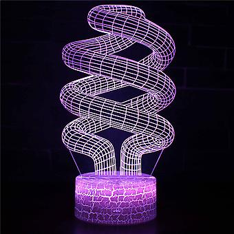 3D Optisk illusionslampa LED Night Light, 7 färger Touch Bedside Lamp Bedroom Table Art Deco Child Night Light med USB Cable Novelty Christmas Birthday Gift-#308