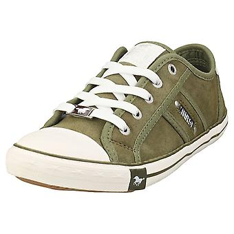 Mustang Lace Up Low Top Womens Casual Trainers em Cáqui