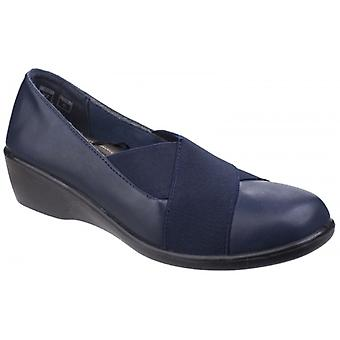 Fleet & Foster Limba Ladies Leather Elasticated Shoes Navy