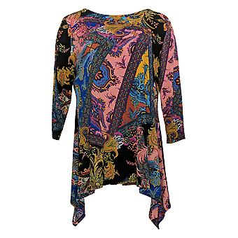 Attitudes By Renee Women's Top Bateau Neck Printed Tunic Pink A345522