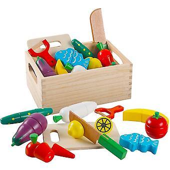 FengChun Holzspielzeug Holzernes Kuche Obst und Gemuse Magnetische Kuchenzubehor Spielzeug zum