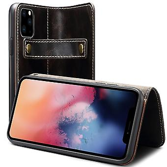 Genuine leather wallet case card slot for iphonexr 6.1 black no4405