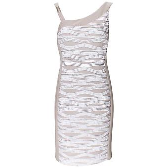 Frank Lyman Sleeveless Beige & White Shift Dress