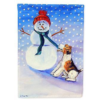 Les trésors de Caroline 7156Gf Bonhomme de neige avec drapeau Fox Terrier, petit, multicolore