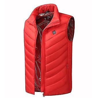 L punainen neljän vyöhykkeen älykäs lämmin hihaton takki x4304