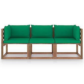 vidaXL Garten-Palettensofa 3-Sitzer mit Kissen Grün Kiefernholz
