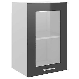 vidaXL Hangglas kast Hoogglans grijs 40x31x60 cm spaanplaat