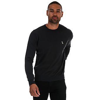 Men's Aquascutum Check Logo Knitted Jumper in Grey