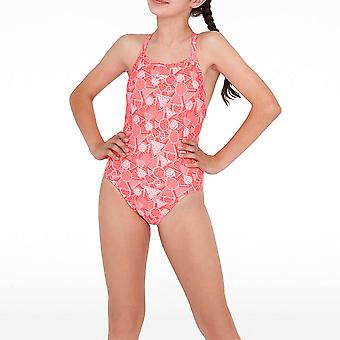 Speedo DazzleGeo Crossover Arka Junior Çocuk Kızlar Mayo Kırmızı / Pembe