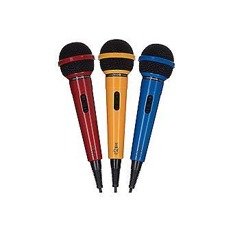 Maplin 3 Pack Karaoke Dynaamiset suuntamikrofonit - Punainen, Keltainen ja Sininen