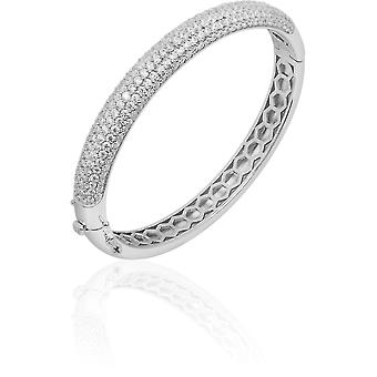 Gisser Jewels - Armband - Bangle Half Sphere set med Zirconia - 8mm Wide - Storlek 64 - Gerhodineerd Zilver 925