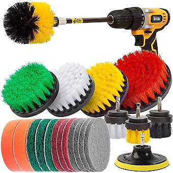 22 Pcs Electric Drill Brush Attachments Set Power Scrubber Kit Scrubing Pads And Sponge Cleaning Set
