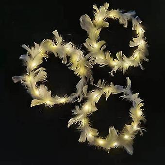 3pcs Luminous Band Lamp Led Goose Feather Wreath(Warm Lamp)