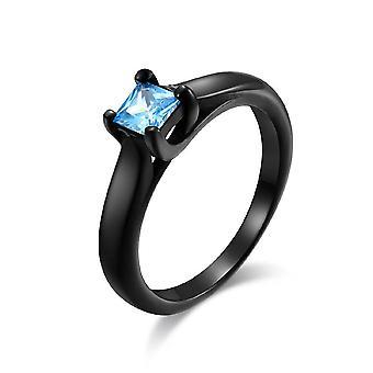 (Blauw-6) Vintage trouwringen heren vrouwen roestvrij staal edelsteen ringen