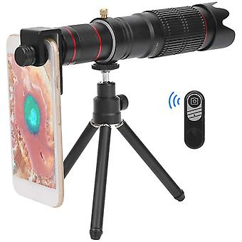 36x Zoom mobilný mobilný teleskop, monokulárny dvojitý nastaviteľný objektív zoomu so všeobecným klipom,(čierna)