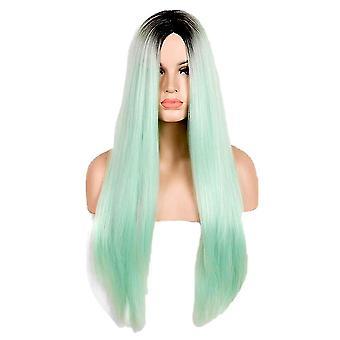 Europe et Amérique Longs cheveux raides Dégradé vert Middle Parting Fashion Cosplay